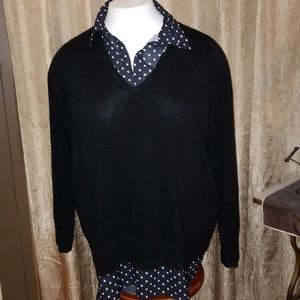 Black Sweater with Faux polka dot blouse